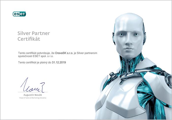 Certifikát ESET pre OravaSK GIGAnet Námestovo